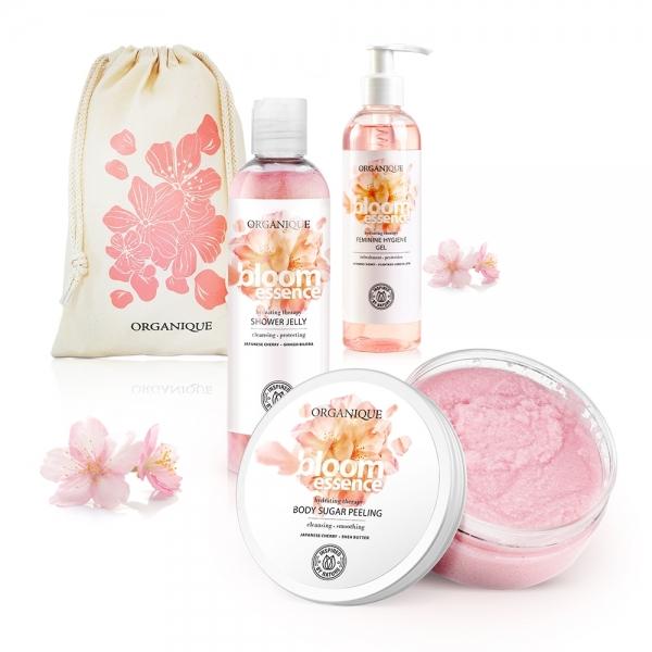 Zestaw Bloom Essence żel pod prysznic + peeling do ciała + żel do higieny intymnej + eko worek