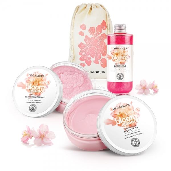 Zestaw Bloom Essence masło do ciała + nektar do kąpieli + peeling + eko worek